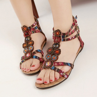 Zipper Flat Low Heel Open Toe Women's Sandals