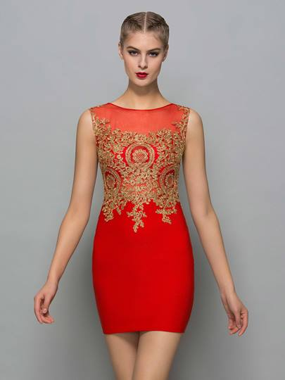 Sheath Round Neck Appliques Mini Cocktail Dress
