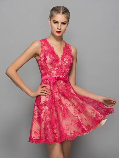V-Neck A-Line Appliques Bowknot Button Lace Sashes Cocktail Dress