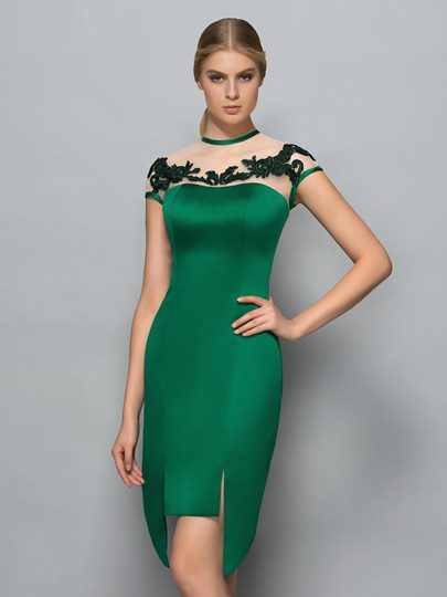 Short Sleeves Jewel Neck Sheath Appliques Asymmetry Evening Dress