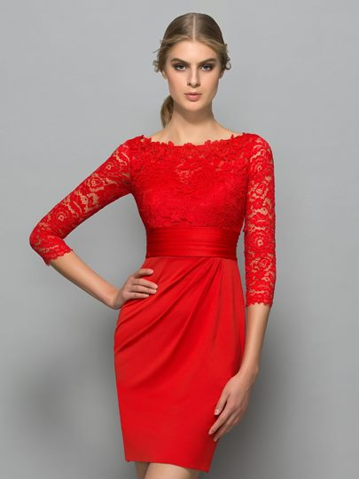 Bateau Sheath Button Lace Pleats Cocktail Dress