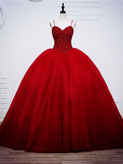 Beaded Bodice Ball Gown Red Wedding Dress Beaded Bodice Ball Gown Red Wedding Dress