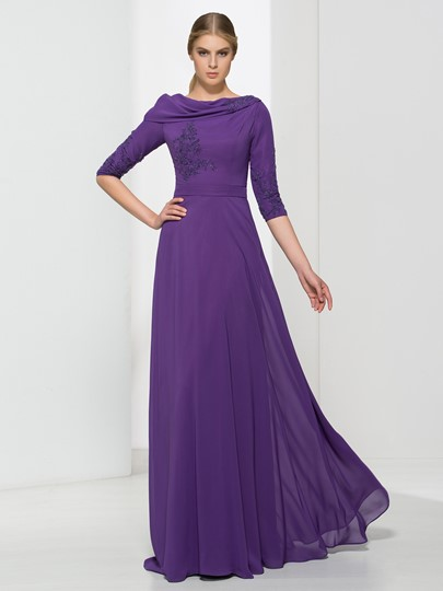 A-Line Cowl Beading Draped Floor-Length Evening Dress