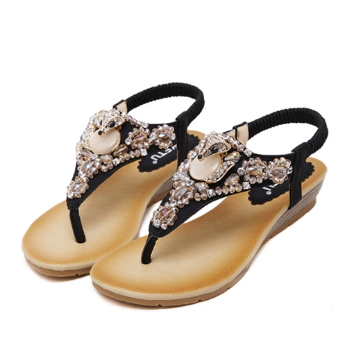 Elastic Band Rhinestone Thong Wedge Heel Women's Sandals