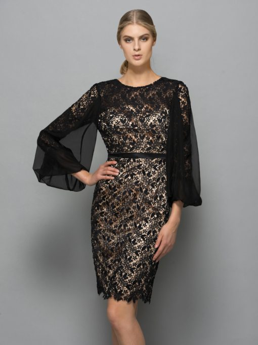 Column Scoop Long Sleeves Lace Knee-Length Evening Dress