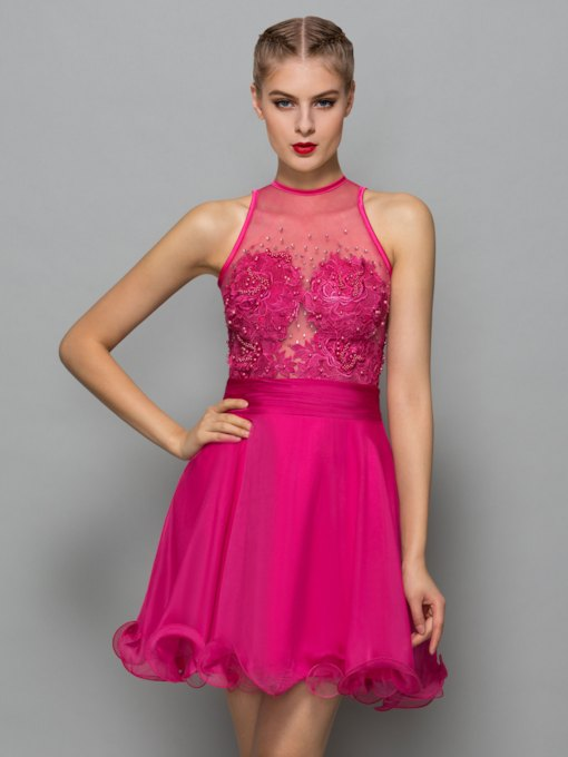 Jewel Neck A-Line Appliques Beading Lace Short Cocktail Dress