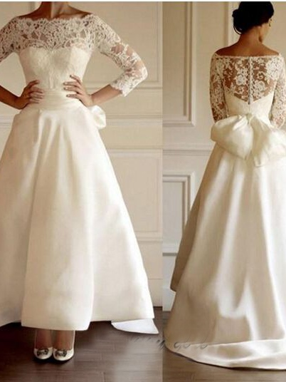 Off-The-Shoulder Lace Bowknot Ankle-Length Wedding Dress