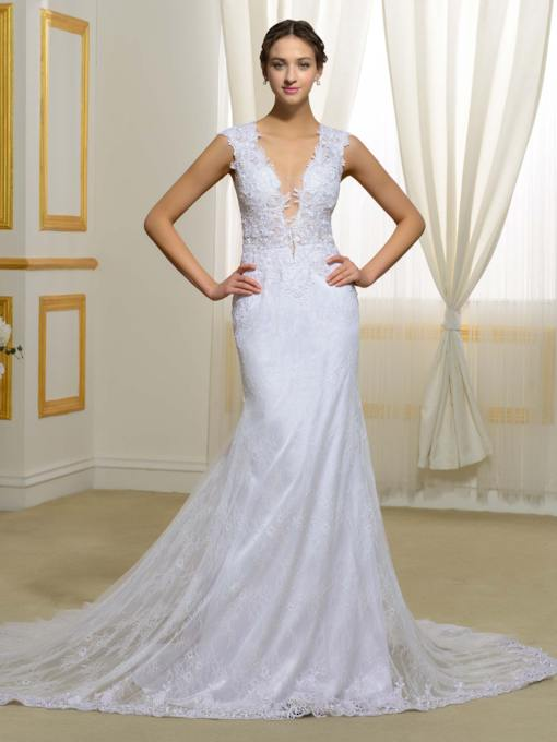 Deep V-Neck Lace Button Sheer Back Mermaid Wedding Dress