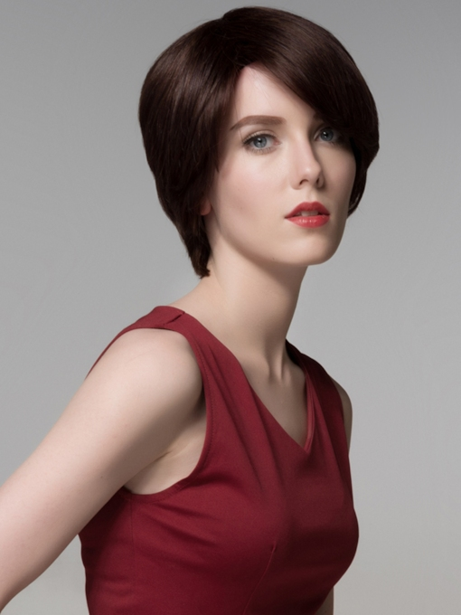 Short Charming Human Hair Capless Wig 6 Inches