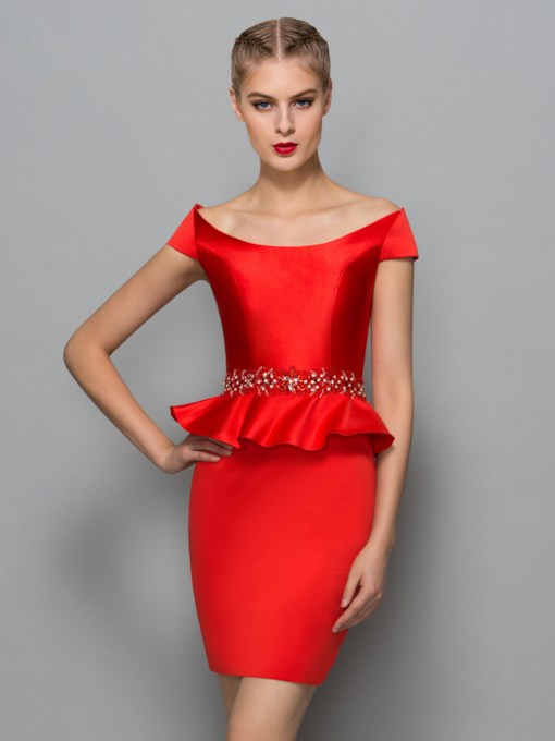 Bateau Neck Sheath Beading Red Cocktail Dress