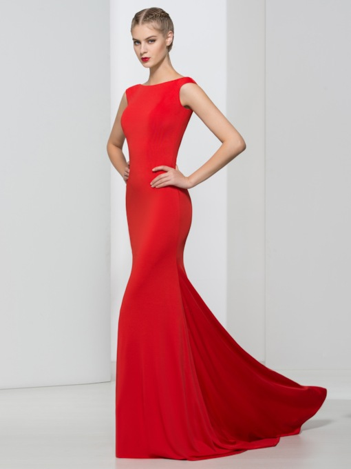 Mermaid Bateau Neck Backless Red Evening Dress