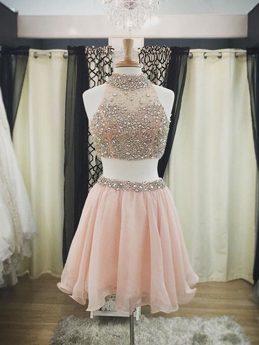 A-Line High Neck Beading Rhinestone Two Pieces Cocktail Dress