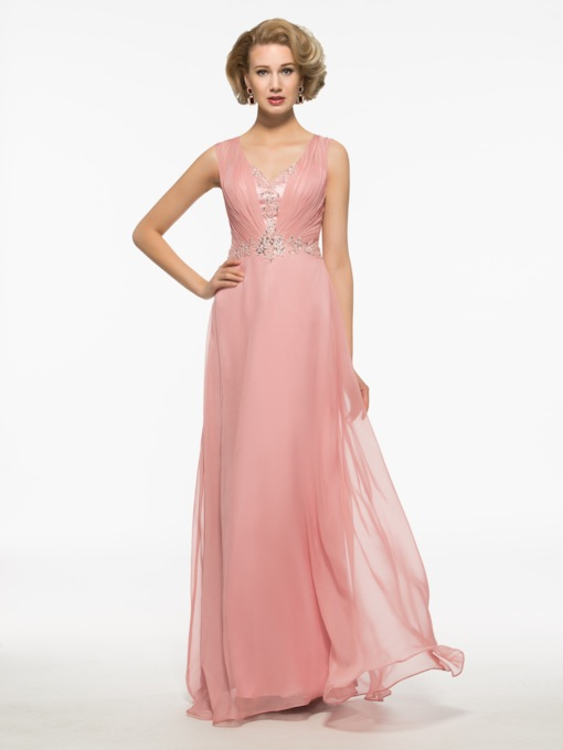V-Neck Straps A-Line Floor-Length Mother Of The Bride Dress
