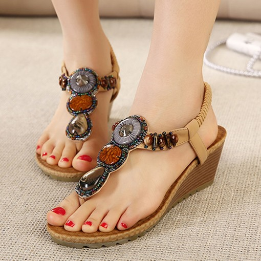 Thong Elastic Band Bead Wedge Heel Women's Sandals