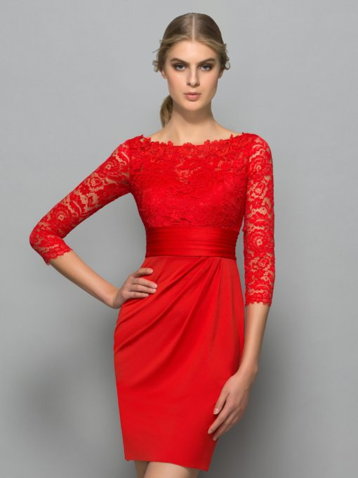 Sheath Button Pleats Lace Red Cocktail Dress
