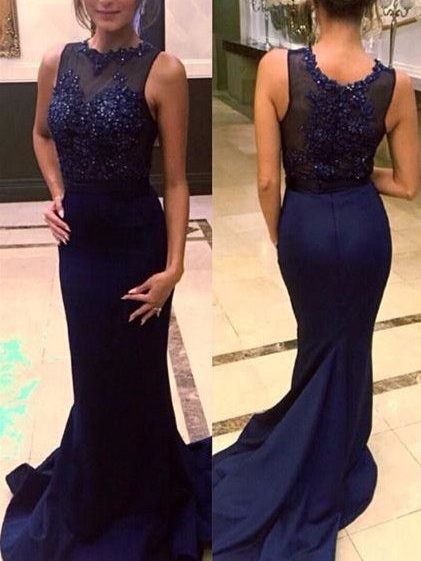 Jewel Neck Beaded Appliques Mermaid Evening Dress