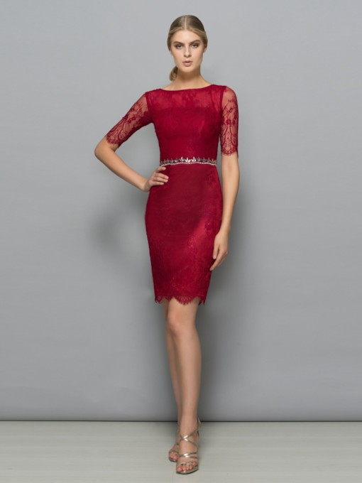 Sheath Bateau Beading Hollow Lace Knee-Length Cocktail Dress