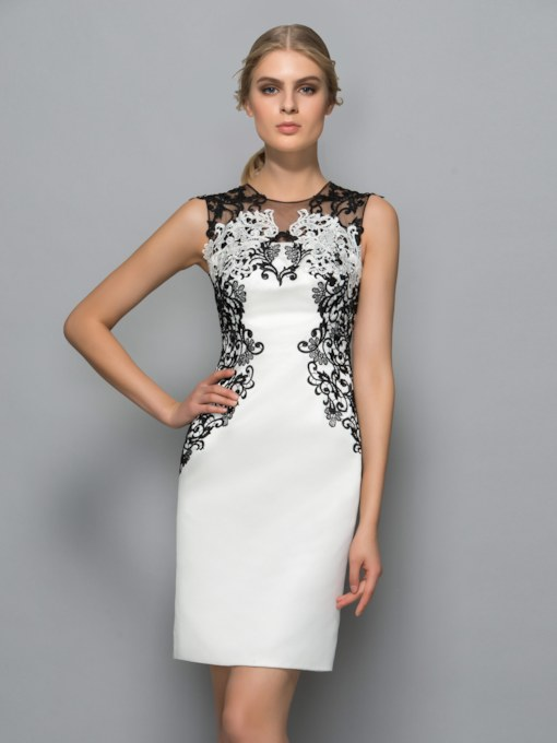 Sheath Jewel Neck Appliques Knee-Length Formal Dress