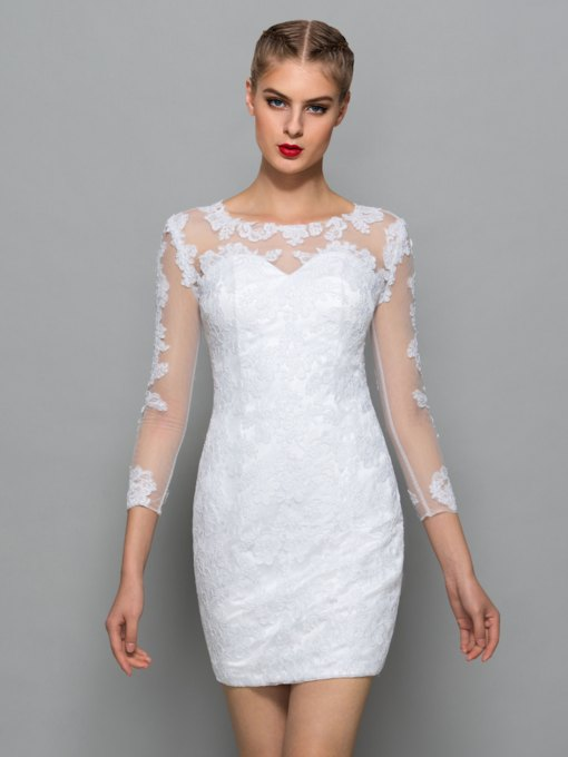 Sheath Scoop Appliques Lace Cocktail Dress