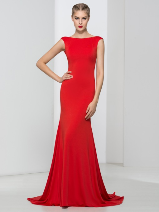 Mermaid Bateau Backless Sweep Train Evening Dress