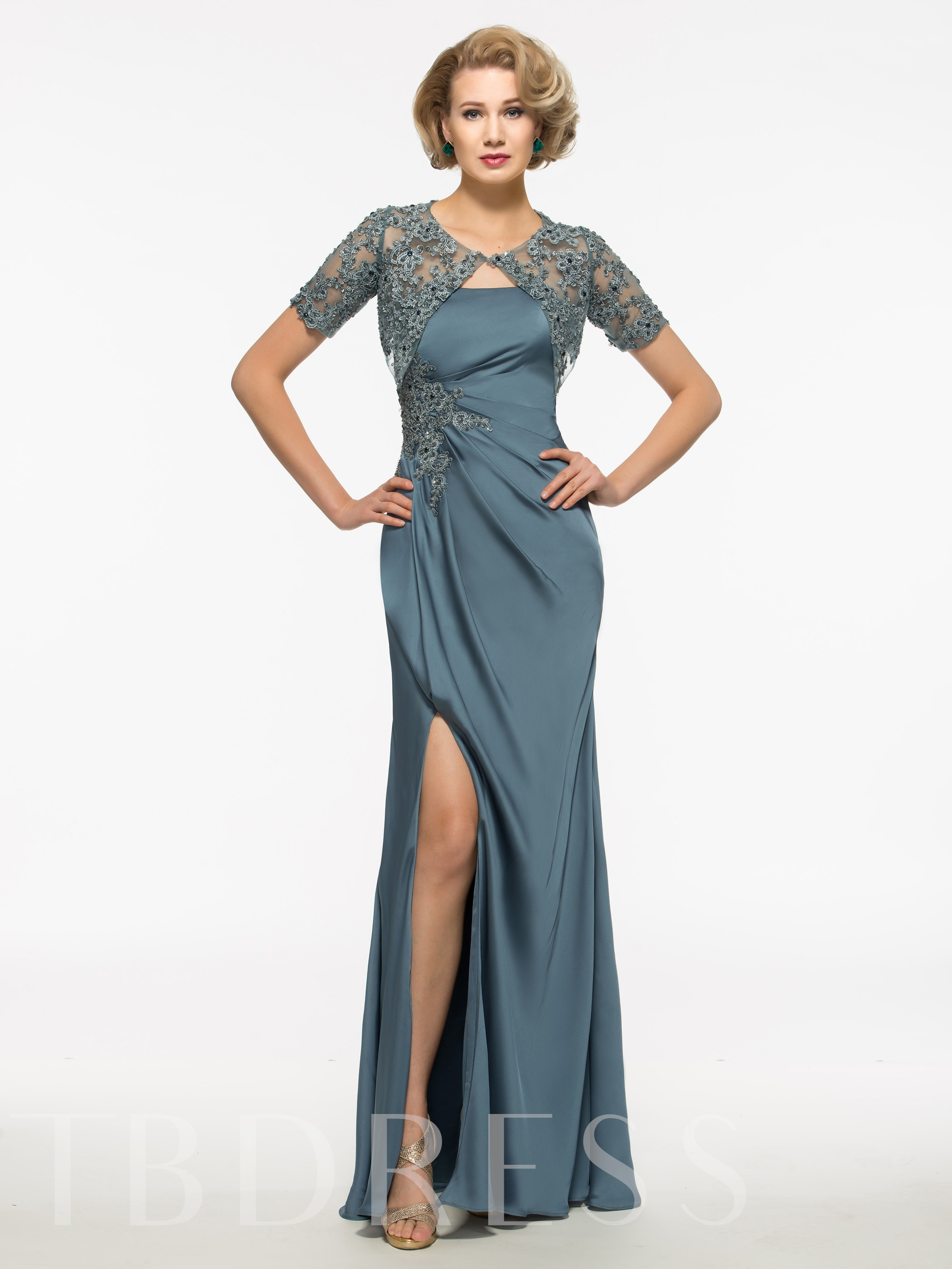 Image of Appliques Mother Of The Bride Dress With Jacket