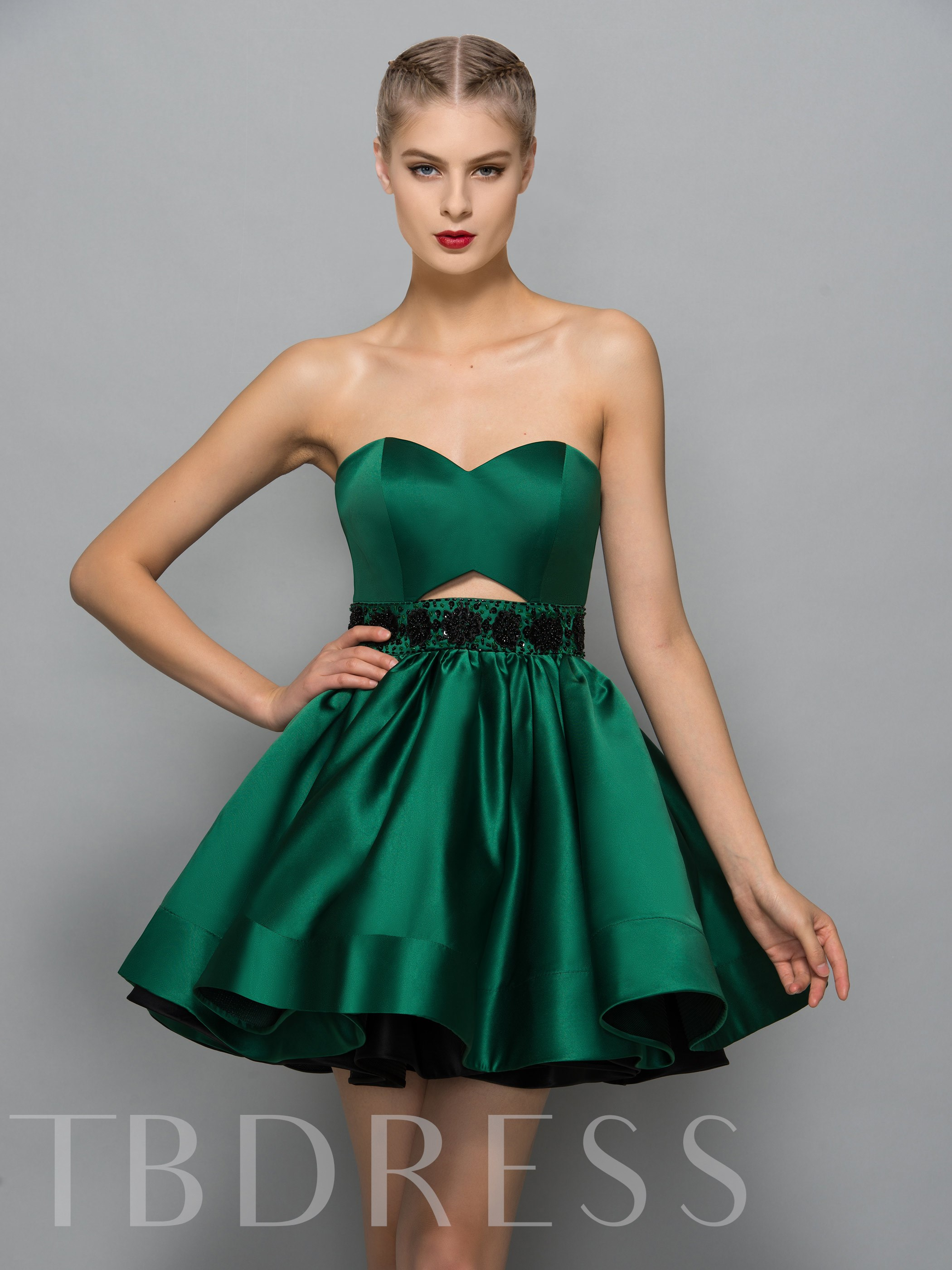 Image of A-Line Sweetheart Beading Hollow Sequins Cocktail Dress