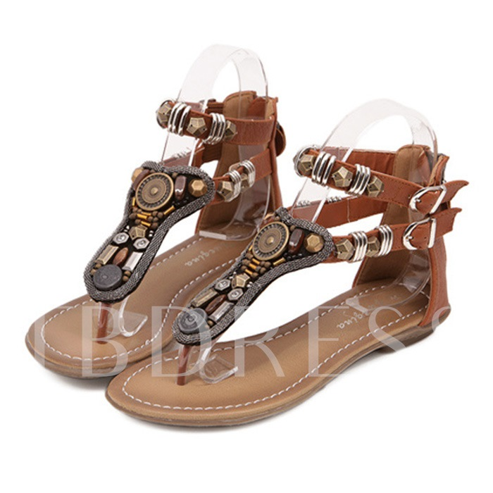 Thong Zipper Bead Square Heel Women's Sandals