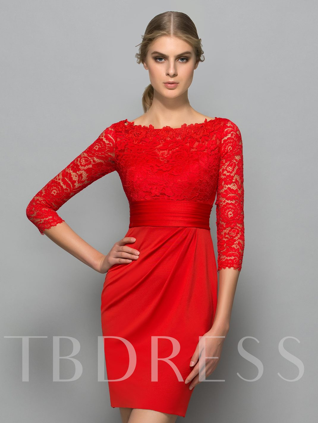 Bateau Sheath Button Lace Pleats