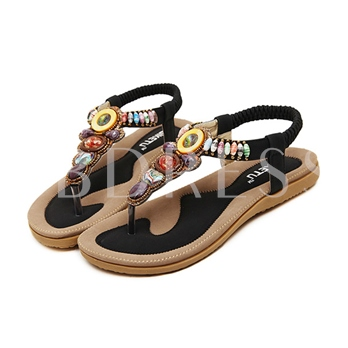 Thong Bead Elastic Band Slingback Strap Women's Sandals
