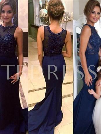 Mermaid Beaded Jewel Appliques Sweep Train Evening Dress