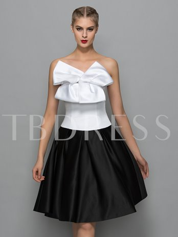 A-Line Strapless Bowknot Knee-Length Cocktail Dress