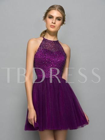 Jewel Neck A-Line Beading Pleats Sequins Mini Cocktail Dress