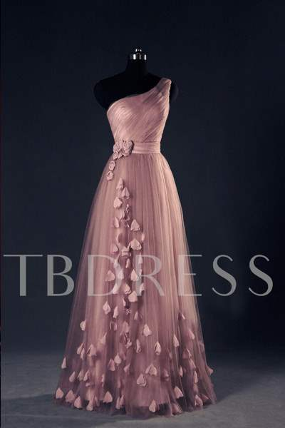 Buy One-Shoulder Ruched A-Line Flowers Floor-Length Evening Dress, Spring,Summer,Fall,Winter, 11856736 for $155.44 in TBDress store