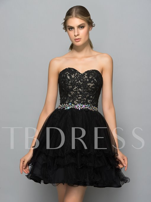 A-Line Appliques Rhinestone Tiered Cocktail Dress