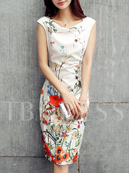 White Print Cap Sleeve Women's Sheath Dress