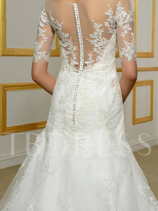 Half Sleeves Bateau Neck Lace Mermaid Wedding Dress