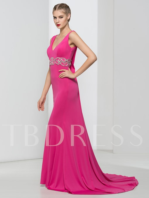 Trumpet V-Neck Beading Sequins Brush Train Evening Dress
