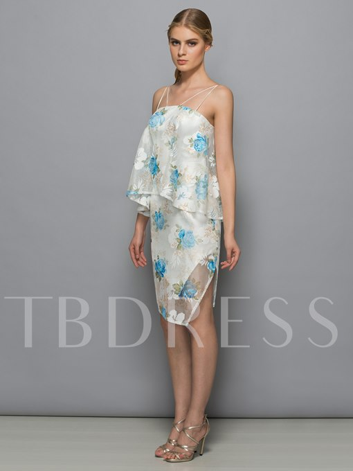 Straps Column Lace Print Ruffles Tiered Cocktail Dress