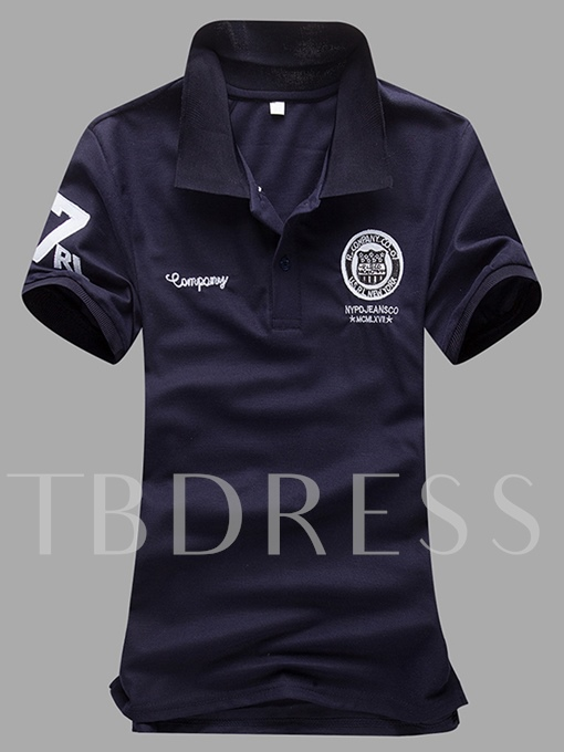 England Style Solid Color Letter Printed Slim Men's Polo