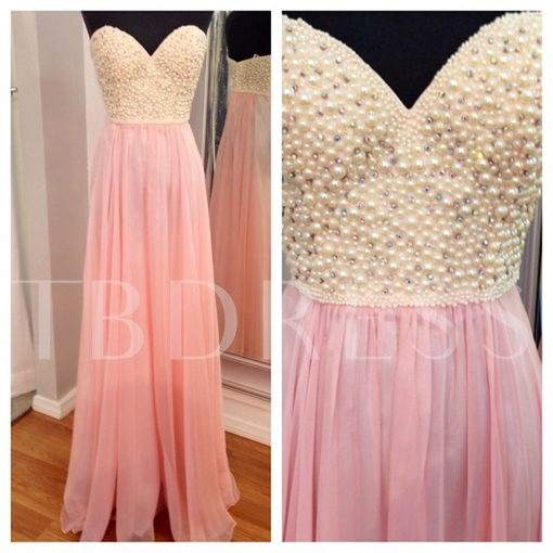A-Line Beaded Sweetheart Pearls Floor-Length Prom Dress