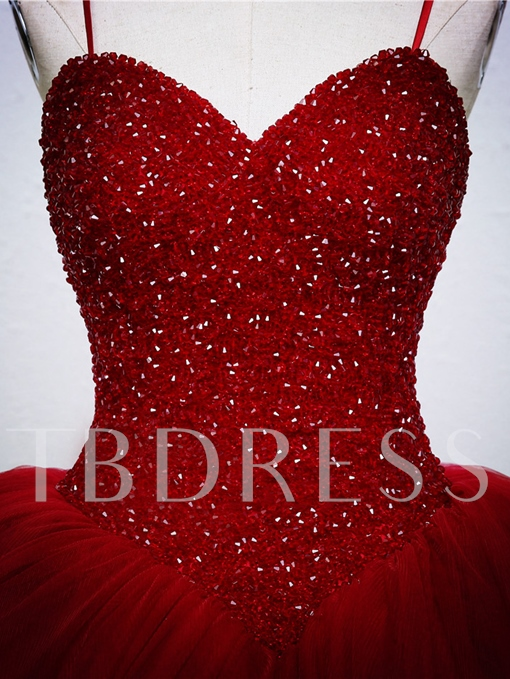 Beaded Bodice Ball Gown Red Wedding Dress