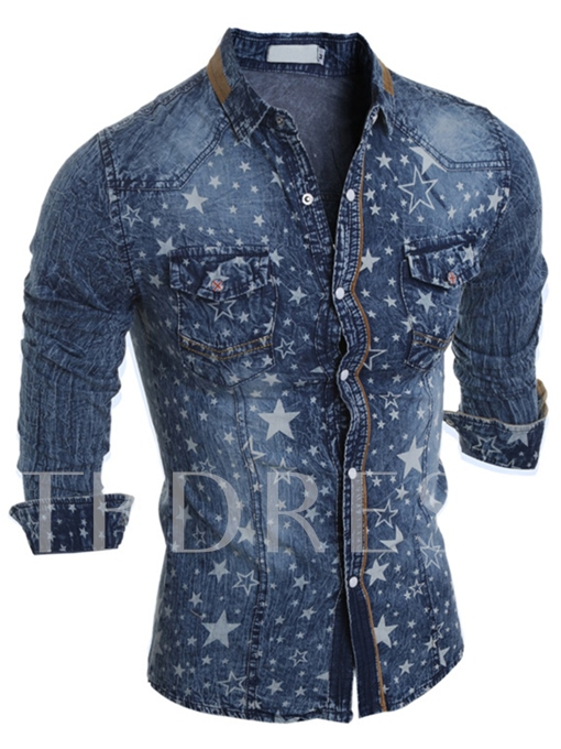 Men's Denim Shirt with Stars Decorated