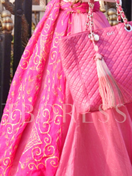 Pink Lace up Women's Long Skirt