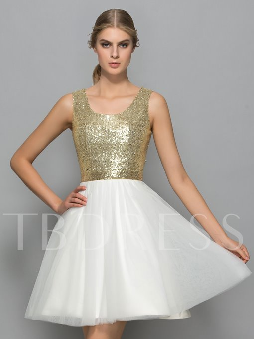 A-Line Straps Bowknot Hollow Sequins Mini Cocktail Dress