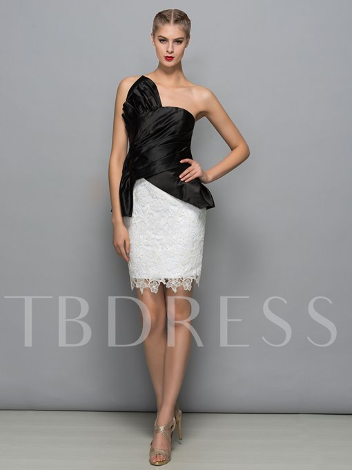 Sheath Strapless Bowknot Lace Pleats Short Cocktail Dress