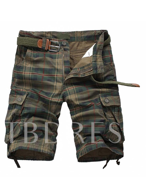 Men's Cargo Shorts with Large Check