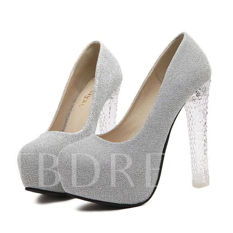 Round Toe Slip-On Plain Chunky Heel Platform Women's Pumps