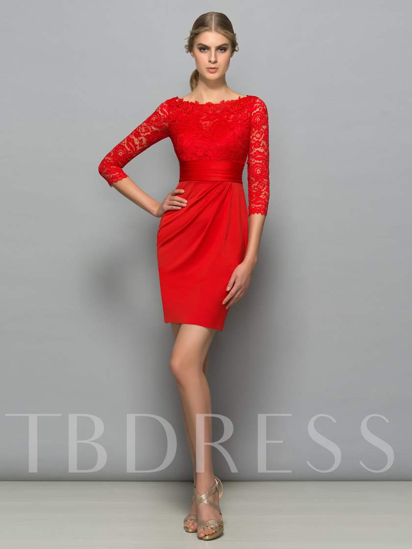 Sheath Button Lace Red Cocktail Dress with Sleeves