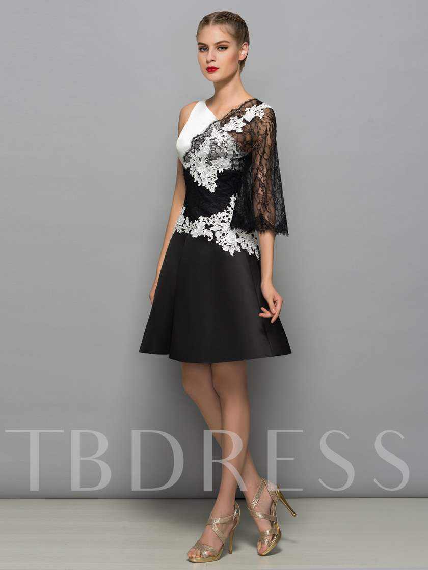 A-Line V-Neck Appliques Lace Mini Cocktail Dress