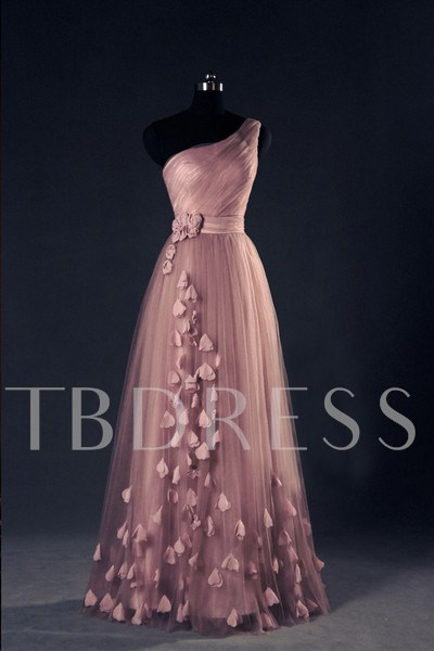 One-Shoulder Lace-Up 3D Flowers Prom Dress